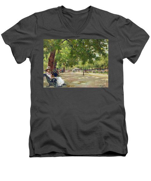 Hyde Park - London Men's V-Neck T-Shirt by Count Girolamo Pieri Nerli