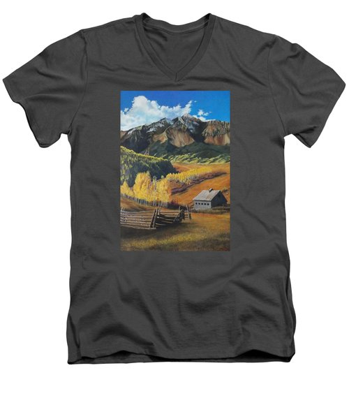 I Will Lift Up My Eyes To The Hills Autumn Nostalgia  Wilson Peak Colorado Men's V-Neck T-Shirt by Anastasia Savage Ealy