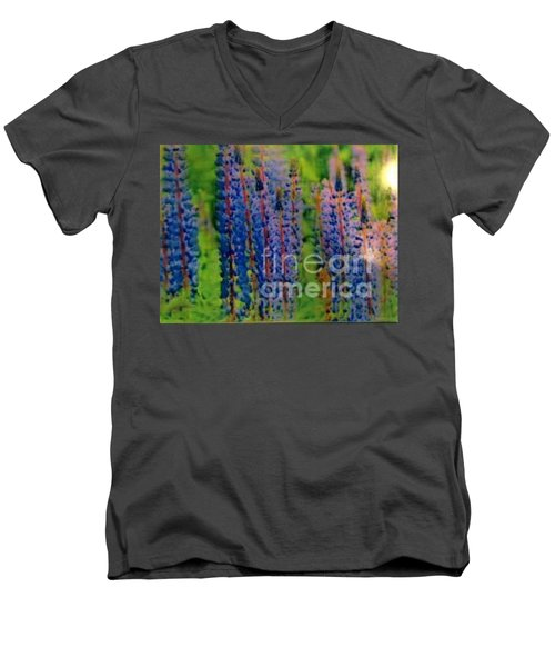 Men's V-Neck T-Shirt featuring the painting  Lois Love Of Lupine by FeatherStone Studio Julie A Miller