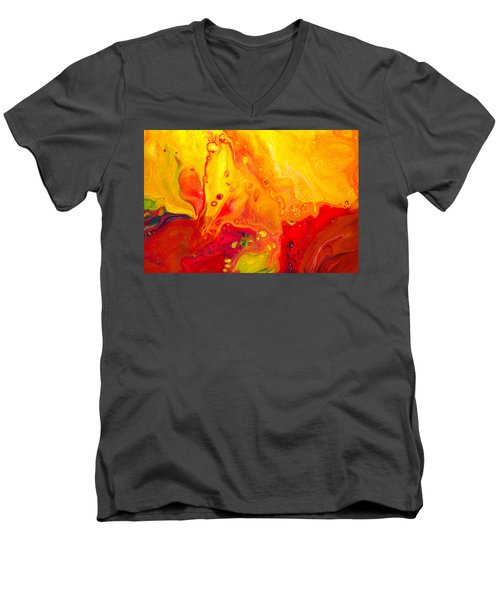 Melancholy - Abstract Warm Mixed Media Painting Men's V-Neck T-Shirt by Modern Art Prints
