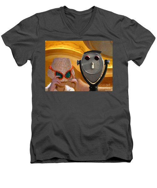 Men's V-Neck T-Shirt featuring the digital art  Metered Thoughts by Lyric Lucas