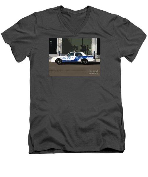 Montreal Police Car Poster Art Men's V-Neck T-Shirt