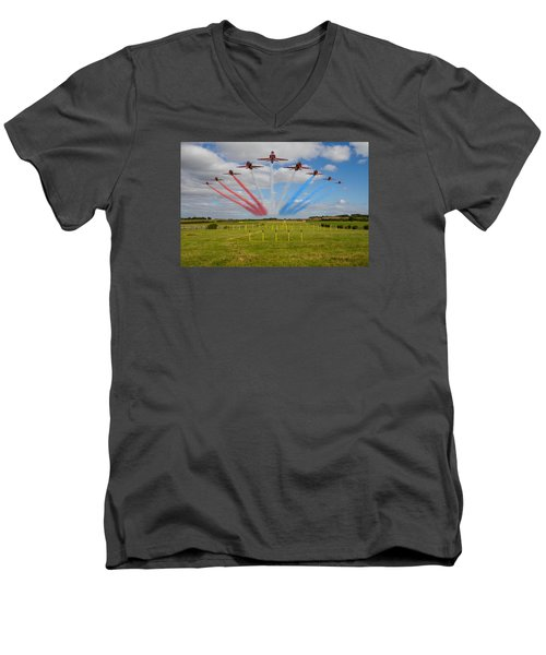 Red Arrows Running In At Brize Men's V-Neck T-Shirt by Ken Brannen