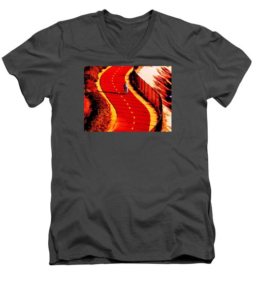 Men's V-Neck T-Shirt featuring the photograph  Red Path  by John King