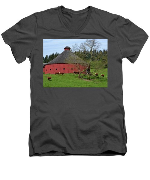 Round Red Barn Men's V-Neck T-Shirt