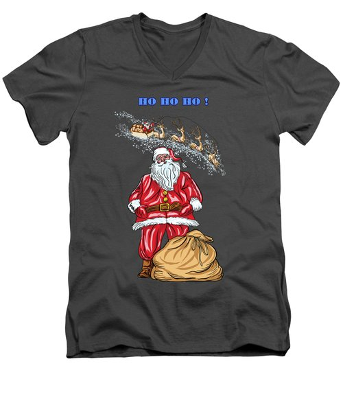 Men's V-Neck T-Shirt featuring the painting  Santa Claus by Andrzej Szczerski