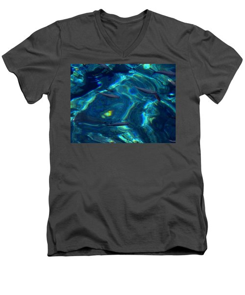 Men's V-Neck T-Shirt featuring the photograph  Santorini  Ocean Water Reflections Greece by Colette V Hera  Guggenheim