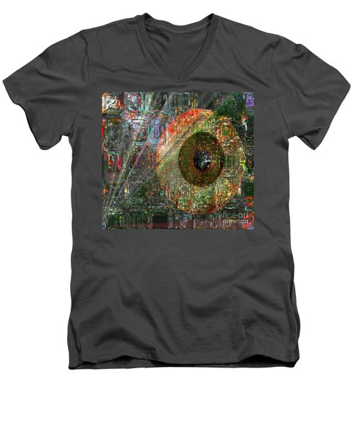 Men's V-Neck T-Shirt featuring the digital art  Savior Watching Over Me by Fania Simon