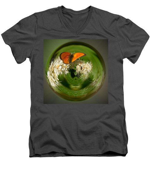 Men's V-Neck T-Shirt featuring the photograph  Scarce Copper 3 by Jouko Lehto