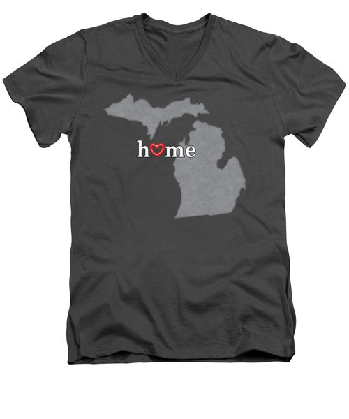 State Map Outline Michigan With Heart In Home Men's V-Neck T-Shirt by Elaine Plesser