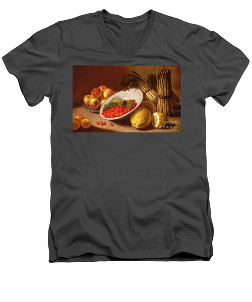 Still Life Of Raspberries Lemons And Asparagus  Men's V-Neck T-Shirt by Italian School