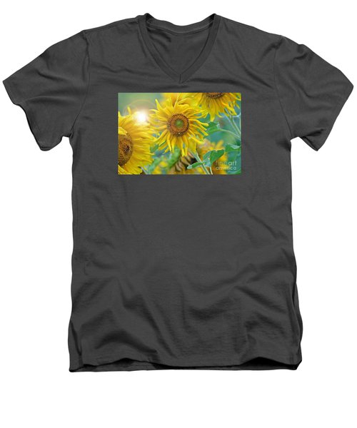 Men's V-Neck T-Shirt featuring the photograph  Sunflower by Lila Fisher-Wenzel