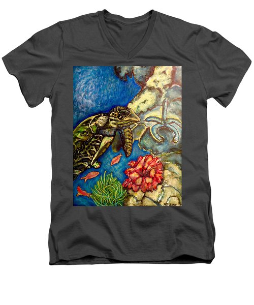 Sweet Mystery Of The Sea A Hawksbill Sea Turtle Coasting In The Coral Reefs Original Men's V-Neck T-Shirt by Kimberlee Baxter