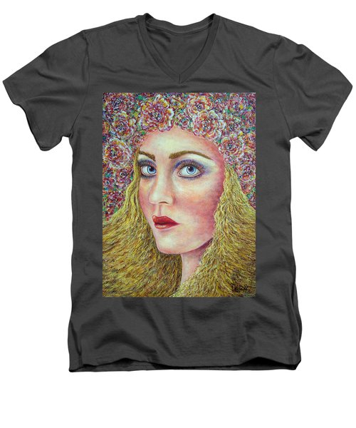 Men's V-Neck T-Shirt featuring the painting   The Flower Girl by Natalie Holland