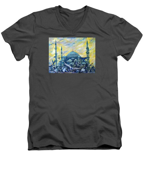 Turkey. Blue Mosque Men's V-Neck T-Shirt