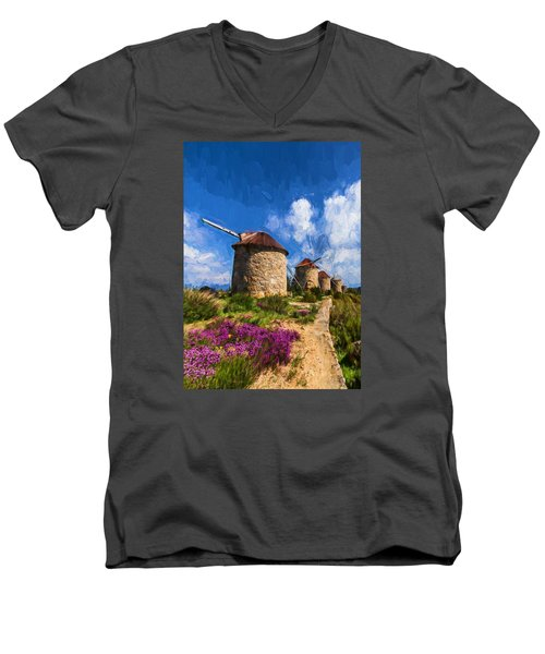 Windmills Of Portugal Men's V-Neck T-Shirt