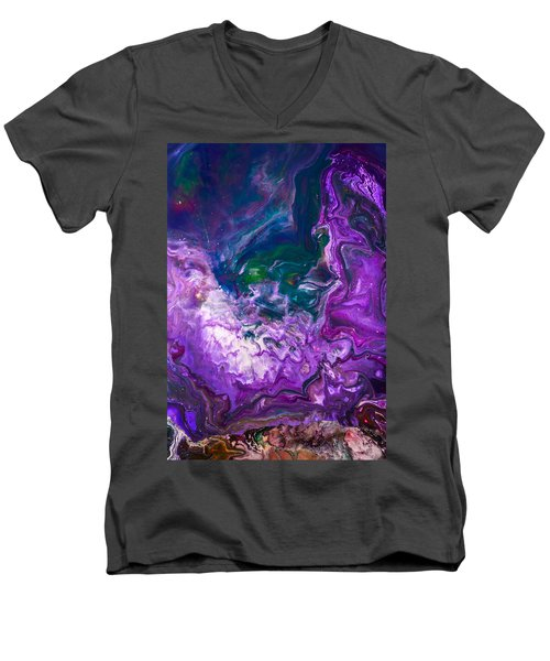 Zeus - Abstract Colorful Mixed Media Painting Men's V-Neck T-Shirt by Modern Art Prints