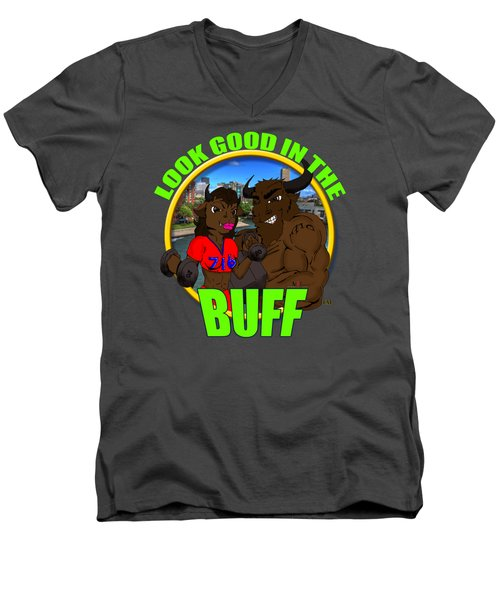 01 Look Good In The Buff Men's V-Neck T-Shirt by Michael Frank Jr