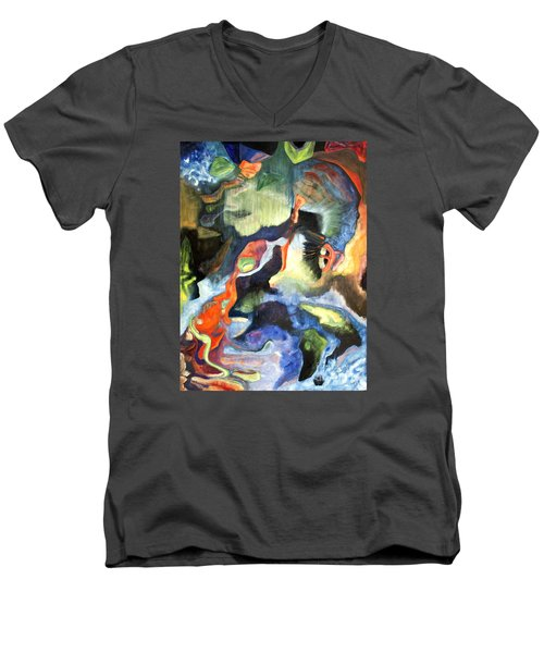 Men's V-Neck T-Shirt featuring the painting 01313 Big Bang by AnneKarin Glass