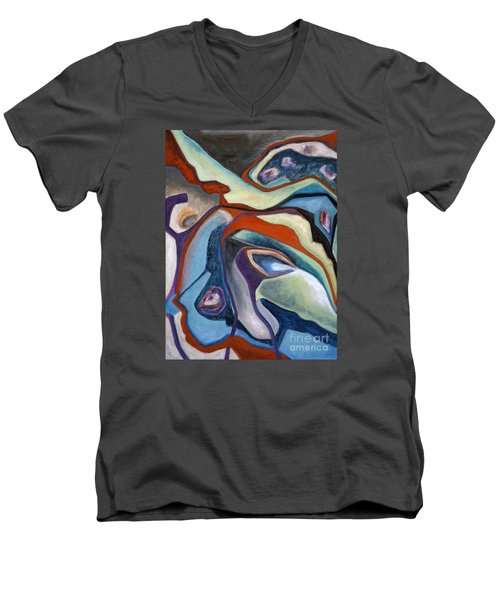 Men's V-Neck T-Shirt featuring the painting 01318 Maybe by AnneKarin Glass