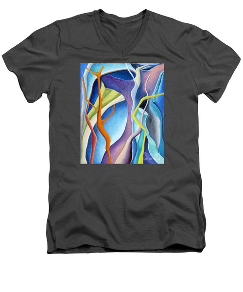 Men's V-Neck T-Shirt featuring the painting 01322 Aspiration by AnneKarin Glass