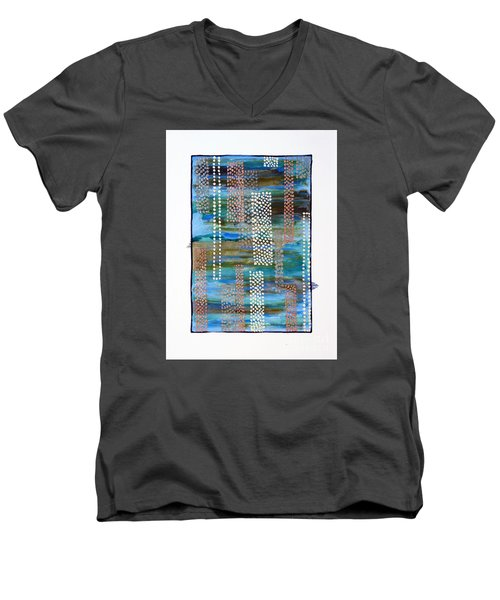 Men's V-Neck T-Shirt featuring the painting 01332 Straight by AnneKarin Glass