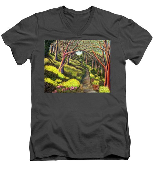 Men's V-Neck T-Shirt featuring the painting  01350  Spring  by AnneKarin Glass