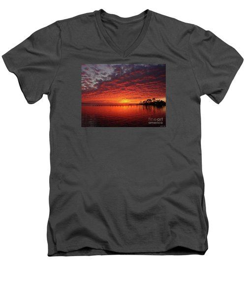 0205 Awesome Sunset Colors On Santa Rosa Sound Men's V-Neck T-Shirt by Jeff at JSJ Photography
