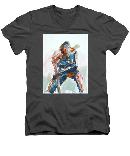 Men's V-Neck T-Shirt featuring the painting 04954 Athlete by AnneKarin Glass