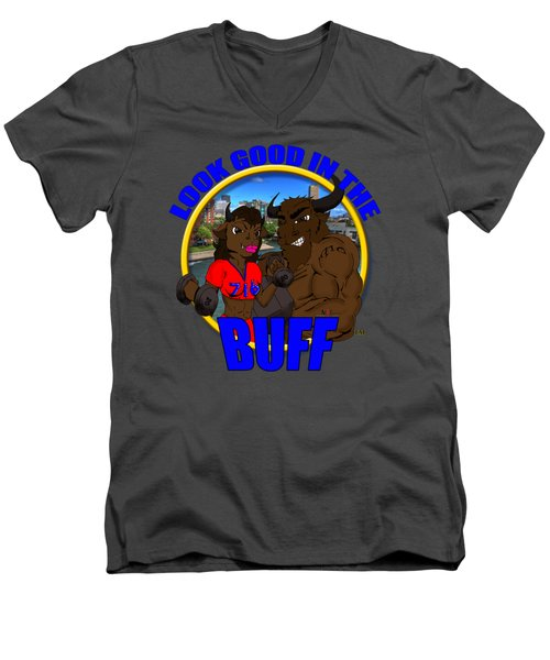 06 Look Good In The Buff Men's V-Neck T-Shirt by Michael Frank Jr