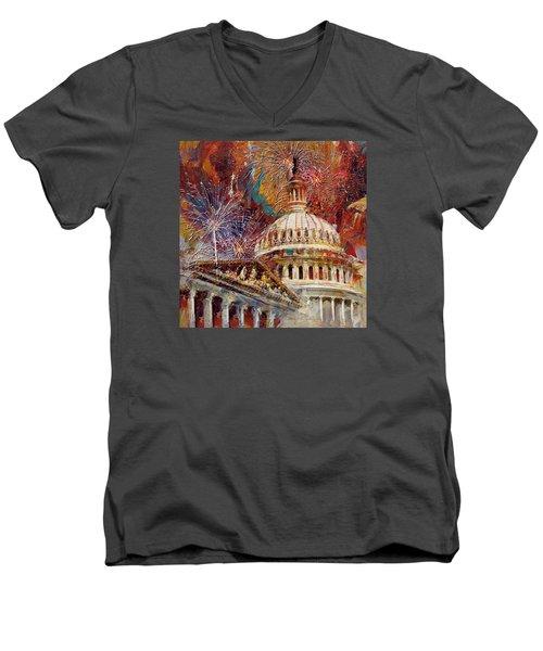 070 United States Capitol Building - Us Independence Day Celebration Fireworks Men's V-Neck T-Shirt by Maryam Mughal
