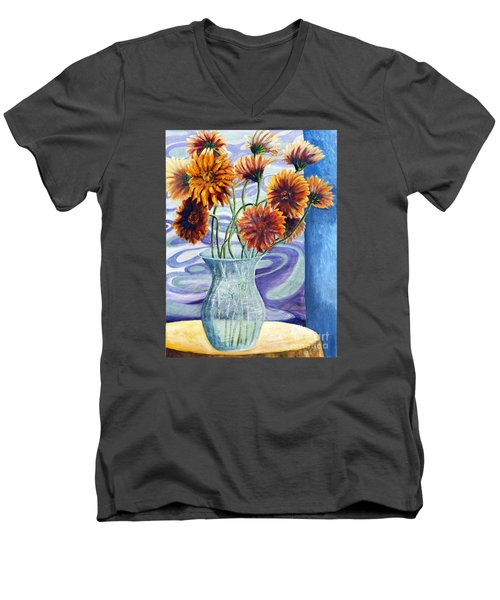 Men's V-Neck T-Shirt featuring the painting 01305 Orange African Daisies by AnneKarin Glass