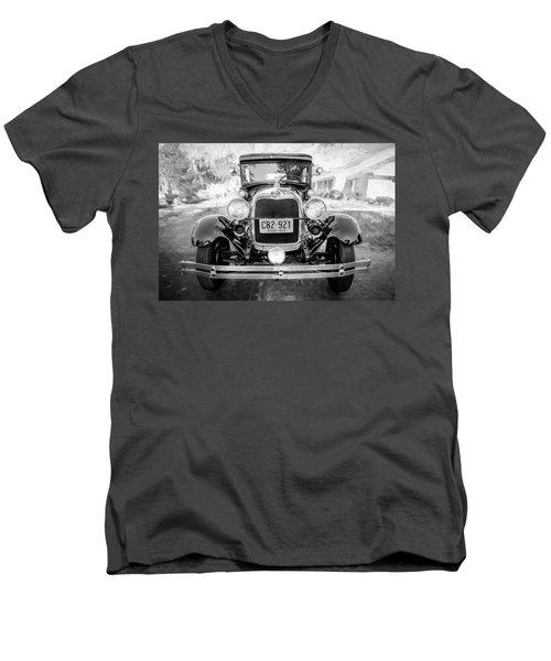1929 Ford Model A Tudor Police Sedan Bw Men's V-Neck T-Shirt by Rich Franco
