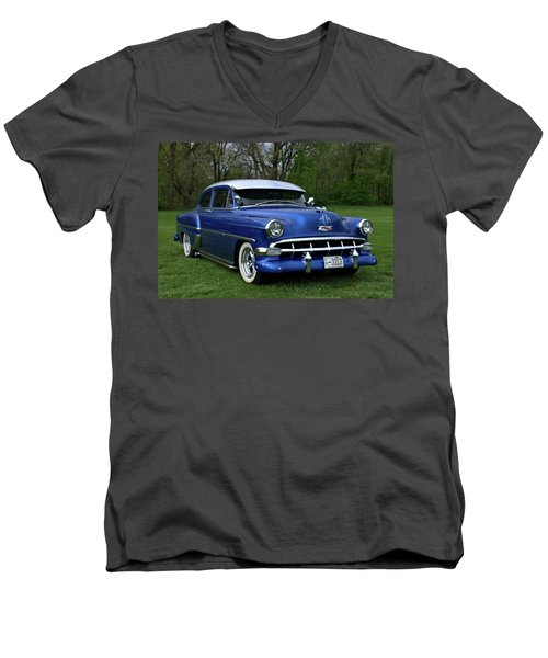 Men's V-Neck T-Shirt featuring the photograph 1954 Chevrolet Street Rod by Tim McCullough