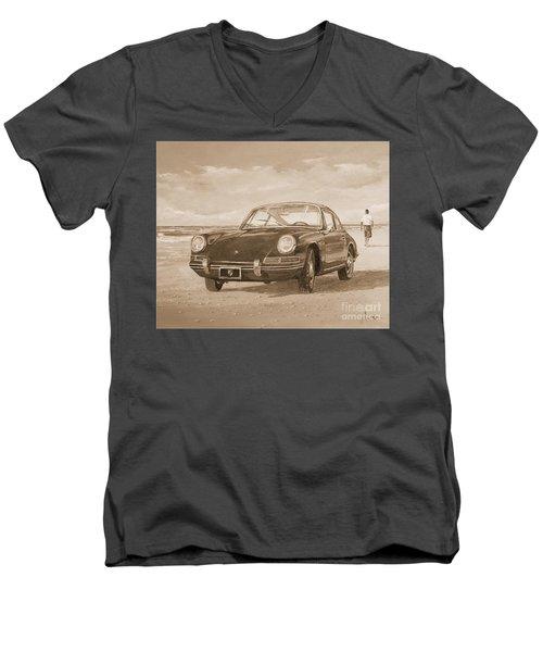 1967 Porsche 912 In Sepia Men's V-Neck T-Shirt