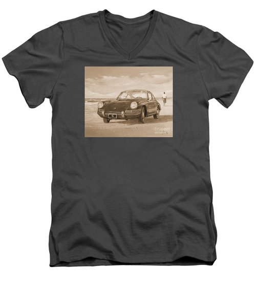 1967 Porsche 912 In Sepia Men's V-Neck T-Shirt