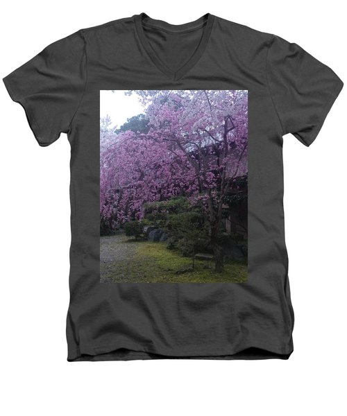 Shidarezakura Mean A Drooping Cherry Tree  Men's V-Neck T-Shirt