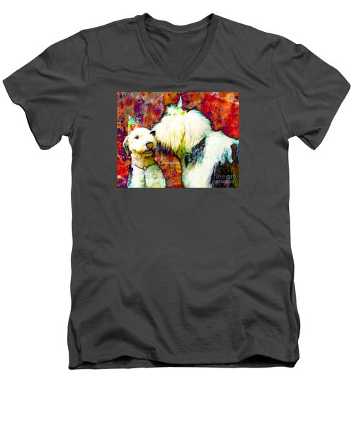 A Birthday Kiss Men's V-Neck T-Shirt by Alene Sirott-Cope