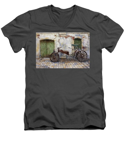 A Carriage On Crisologo Street 2 Men's V-Neck T-Shirt by Joey Agbayani