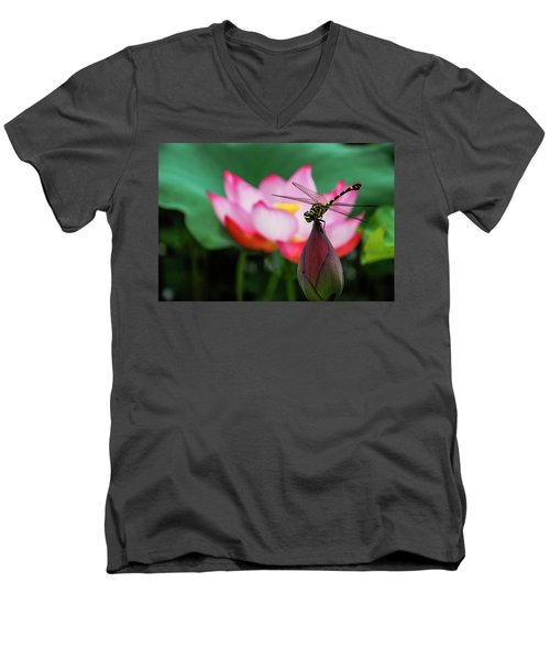 A Dragonfly On Lotus Flower Men's V-Neck T-Shirt