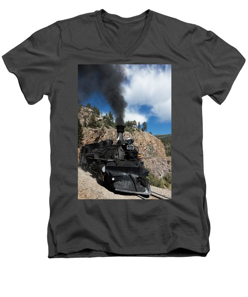 Men's V-Neck T-Shirt featuring the photograph A Durango And Silverton Narrow Gauge Scenic Railroad Train Chugs Through The San Juan Mountains by Carol M Highsmith