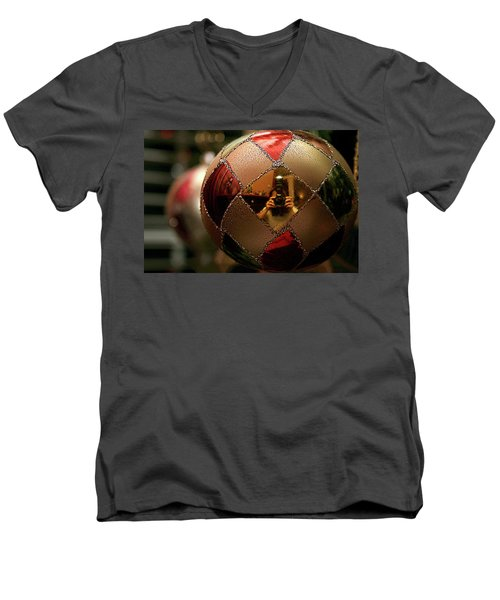 Men's V-Neck T-Shirt featuring the photograph A Photographer's Christmas Greeting by Trish Mistric
