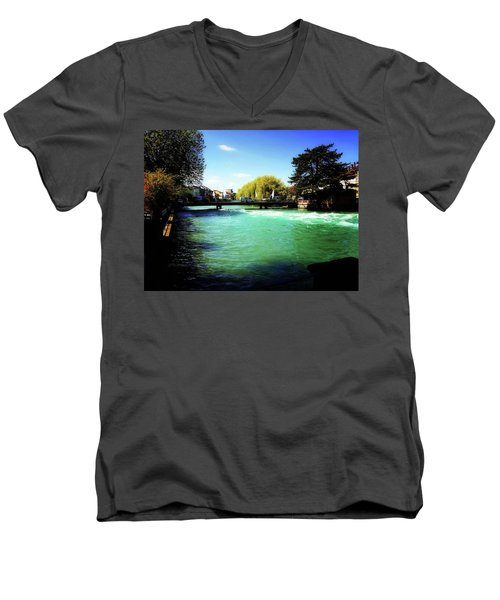 Men's V-Neck T-Shirt featuring the photograph Aare River by Mimulux patricia no No