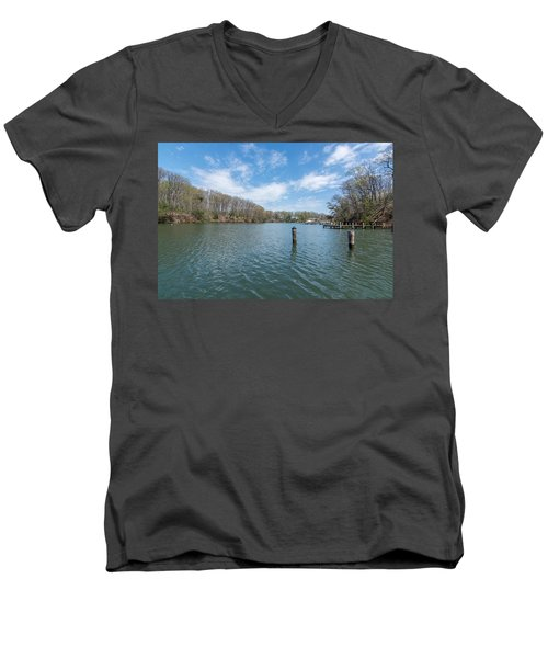 Men's V-Neck T-Shirt featuring the photograph Weems Creek Annapolis, Md by Charles Kraus
