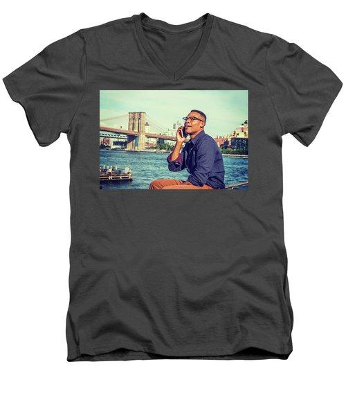African American Man Traveling In New York Men's V-Neck T-Shirt