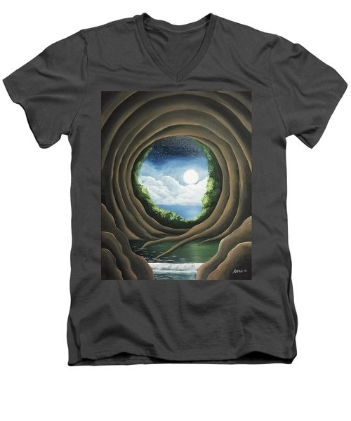 Men's V-Neck T-Shirt featuring the painting After The Storm by Edwin Alverio