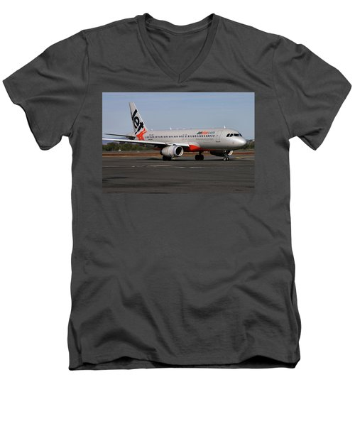 Airbus A320-232 Men's V-Neck T-Shirt by Tim Beach
