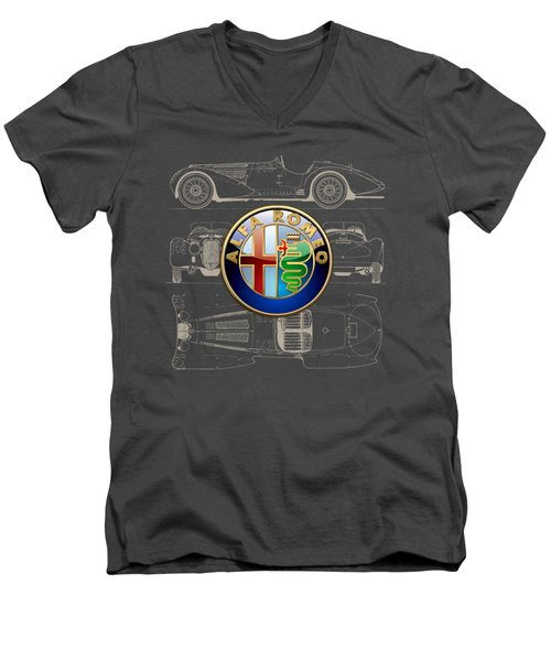 Alfa Romeo 3 D Badge Over 1938 Alfa Romeo 8 C 2900 B Vintage Blueprint Men's V-Neck T-Shirt
