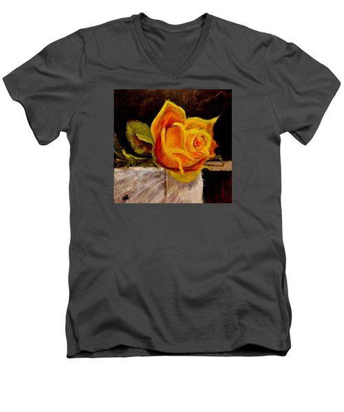 Men's V-Neck T-Shirt featuring the painting Alone.. by Cristina Mihailescu