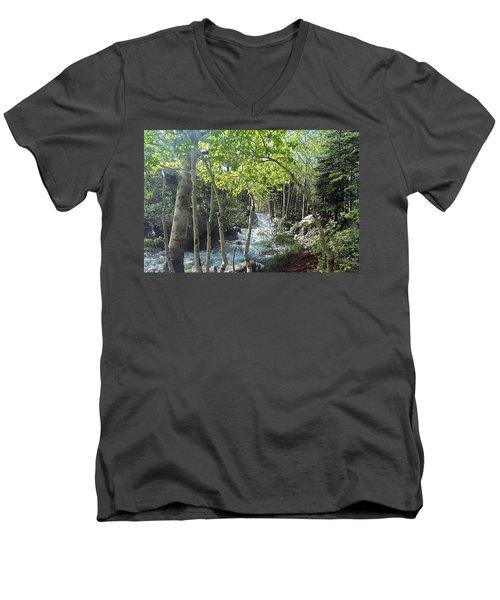 Along Alberta Falls Trail Rocky Mountain National Park Men's V-Neck T-Shirt